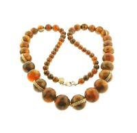 "Vintage Lucite Moon Glow Bead Necklace Long Strand Dana Buchman 36"""