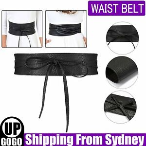 Wide Waist Belt Leather Waistband Wrap Around Elastic Band Cinch Women Stretch A