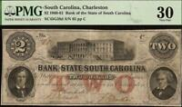 LARGE 1861 $2 DOLLAR LOW 65 SOUTH CAROLINA BANK NOTE MONEY GIFT IDEA PMG 30