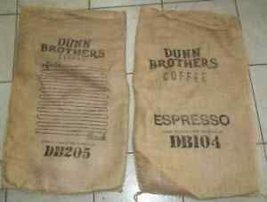 "Lot of 2 Large Infinite Espresso & Coffee Bean Burlap Sacks, Wall Art, 30"" X 17"""