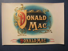 Original Old Vintage - DONALD MAC - Inner CIGAR LABEL - JH Mahoney - Detroit MI.