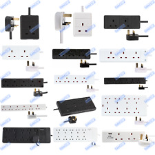 UK Mains Extension Lead Cables 1 2 3 4 6 8 10 Gang 50cm - 20m Plug Black / White