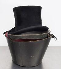 Antiker Hut Zylinderhut mit Hutbox Top Hat Dachshaar Zylinder 54,5cm ~1900
