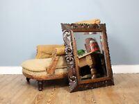 19th Century French Floral Fretwork Oak Cushion Mirror