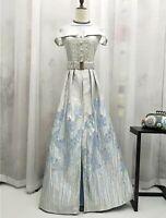 Retro Jacquard Victorian Off-Shoulder Party/ Occasion Dress UK 16