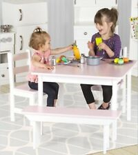 CHILDREN'S PLAY TABLE - PINK & GRAY Amish Handmade Wood Toddler Furniture USA