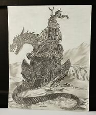"""11"""" x 14""""  Pencil Graphite Drawing Of A Nord Man In Armor Riding A Dragon"""