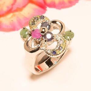 Burmese Blue Sapphire & Ruby & Emerald Quartz 925 Silver Ring S.6 W2434