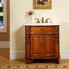 33-inch Single Sink Cabinet Bathroom Vanity Cream Marfil Marble Stone Top 0204Cm