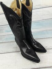 Corral Women's Black Genuine Lizard Leather Cowboy Western Boots Size 7 M