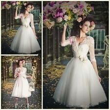 Vintage Lace V Neck Short Wedding Dress Beach Tea Length Bridal Gown Custom Size