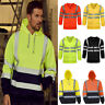 Mens High Visibility Reflective Safety Sweatshirt Tops Work Hooded Jacket Coat