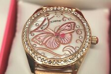 BETSEY JOHNSON Butterfly Watch Rose Gold Leather Watch CZ accent NWT