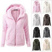 Womens Thicken Fleece Fur Warm Winter Plus Size Coat Hooded Parka Jacket Outwear