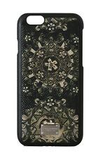 NEW DOLCE & GABBANA Phone Case Black Leather Green Carretto Print iPhone6