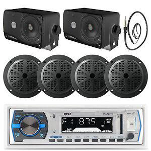"4"" Black Marine 100W Speakers, Antenna, Bluetooth White USB Radio, 3.5"" Speakers"