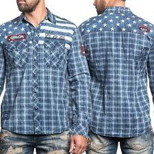 AFFLICTION Mens Button Down Shirt AMERICAN BRAVE Embroidered USA FLAG Biker $88