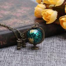 Vintage Globe Earth Telescope Tellurion Enamel Pendant Long Necklace Chain Gift