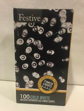 Festive String Lights Battery Operated Timer LED White 100 Bulbs New-Tested