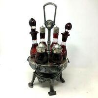 Antique Victorian Era Castor Set Ruby Cut To Clear Silver Plate Cruet