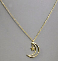 Solid 925 Sterling Plain Silver Crescent Moon Star Designer Gift Necklace KN1011