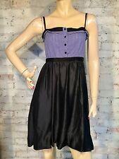 Bcbg Max Azria Dress XXS Blue Black Tank Silk Cotton Strappy