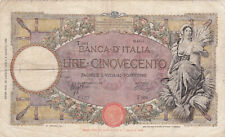 500 LIRE VG BANKNOTE FROM ITALY 1943  PICK-61 RARE