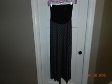 NWT Motherhood Maternity Maxi Skirt black gray striped Small S Belly