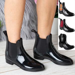 Ladies Ankle Wellington Boots Womens Rain Chelsea Wellies Flat Winter Shoes Size