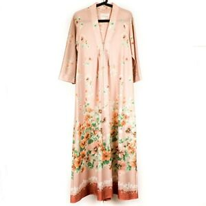 TV Loungers House Dress Robe M Womens VTG Beige Floral Long Sleeve Brown USA