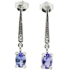 TANZANITE &  DIAMOND EARRINGS SILVER .75 CWT! WHITE GOLD LOOK EARTH MINED STONES