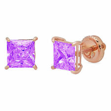 3 ct Princess Solitaire Studs Natural Amethyst 18k Rose Gold Earrings Screw back