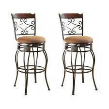 Bar Stool Set 2 Swivel Kitchen Bar Height Metal Chairs Counter Brown Furniture