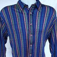 Authentic Vintage Disco 70s Men's Polyester Shirt Cellini Blue Geometric