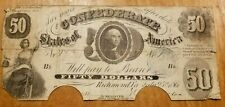 T-8 1861 $50 FIFTY DOLLARS CSA CONFEDERATE STATES OF AMERICA CURRENCY NOTE
