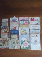VINTAGE MIXED LOT OF 24 ASSORTED USED GREETING CARDS, 1940-1960s