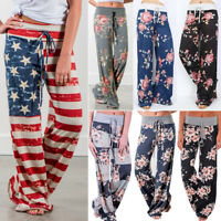 Women Floral Lounge Wide Leg Casual Loose Long Pants Summer Yoga Gym Trousers