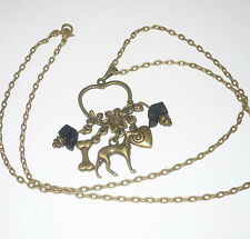 Bronze Greyhound Dog, Heart Charms, w Czech Glass GH Beads Pendant Necklace