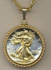 Silver & Gold Coin Necklace W/ Rope Bezel, US Walking Liberty half dollar, #30