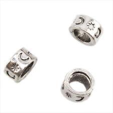100pcs Tibet Silver Star Moon Carved Alloy European Charms Beads Fit Bracelet J