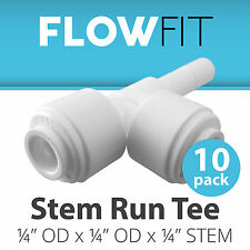 "Stem Run Tee 1/4"" Fitting Connection Parts for Water Filters / RO System - 10 PK"