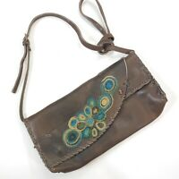 """Vintage Leather Clutch Style Crossbody with accent """"Crewel"""" style work"""