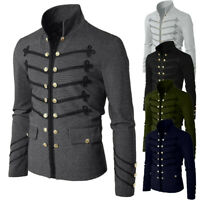 NEW Mens Coat Jacket Gothic Embroider Button Coat Uniform Costume Praty Outwear