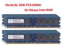 Lot Nanya RAM Kit 2GB 2G 2Rx8 PC2-6400 DIMM Memory RAM Desktop DDR2 800Mhz Intel
