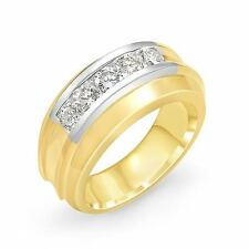 1.00 Ct Round Men's F Vs1 Diamond Band Wedding Ring 14k Multi-Tone Gold 10.90 mm