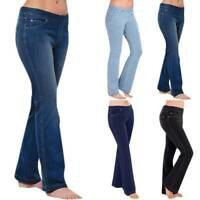 Women Flare Jeans Stretch Bootcut Denim Pants Jeggings Bottoms Trouser Size New