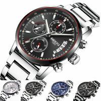 Herren Armbanduhr Analog Chronograph Datum Watch Men Quarz Wasserdicht 3ATM