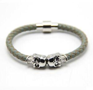 Silver Twin Skull Bead & Grey Woven Nappa Leather Bracelet