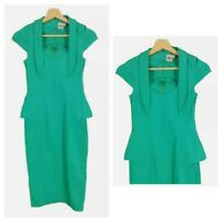 ASOS Green Smart Evening Occasion Tight 40s Peplum Wiggle Pencil Dress Size 8