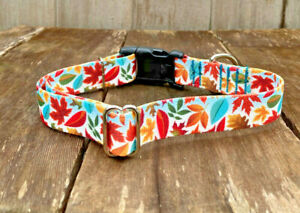 1 inch Colorful Fall Leaves Adjustable Dog Collar with Quick Release Buckle